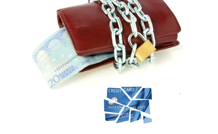 Locked wallet with euro currency